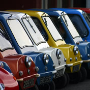 row of Peel Cars